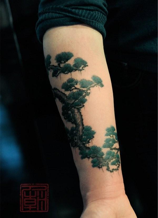 Elegant beautiful tree forearm tattoo