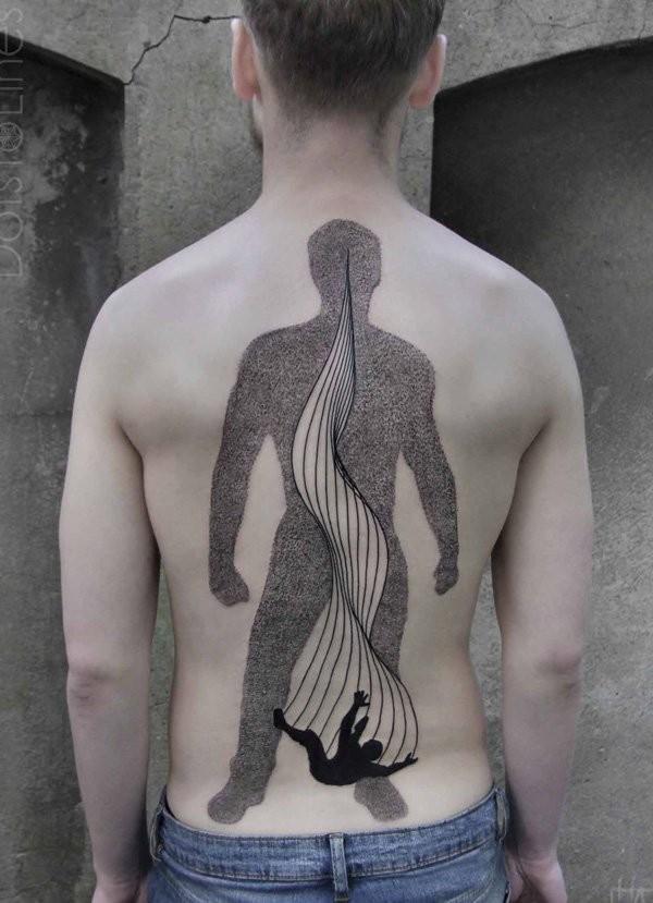 elegante disegno e dipinto inchiostro nero a tema uomo tatuaggio pieno di schiena