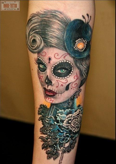 Elegant santa muerte girl in a hat and black rose tattoo