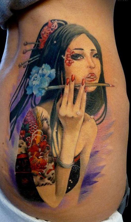 Cardi B Tattoos Arm: Elegant Wonderful Geisha Tattoo In Color (2