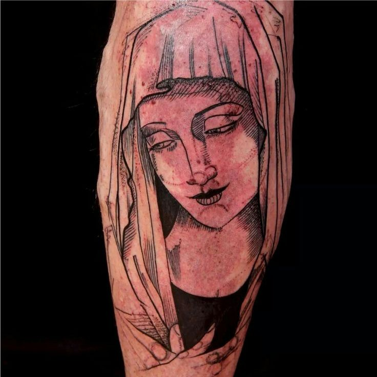 Engraving style black and white mother Mary tattoo