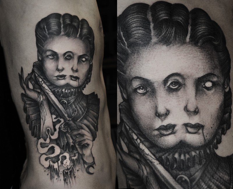 Engraving style black and white side tattoo of mystical woman with bloody dagger