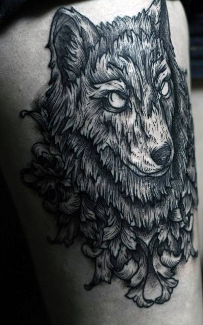 Engraving style black and white thigh tattoo of steady wolf