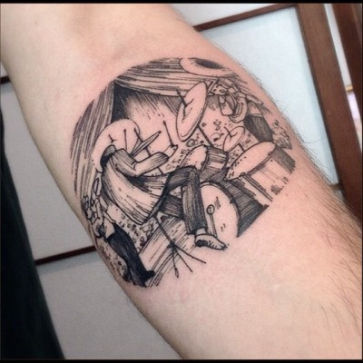 Engraving style black ink arm tattoo of drum player