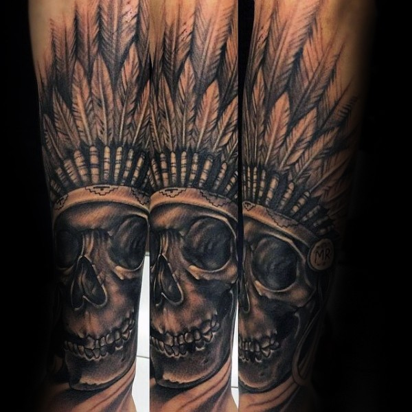 Engraving style black ink arm tattoo of Indian skull