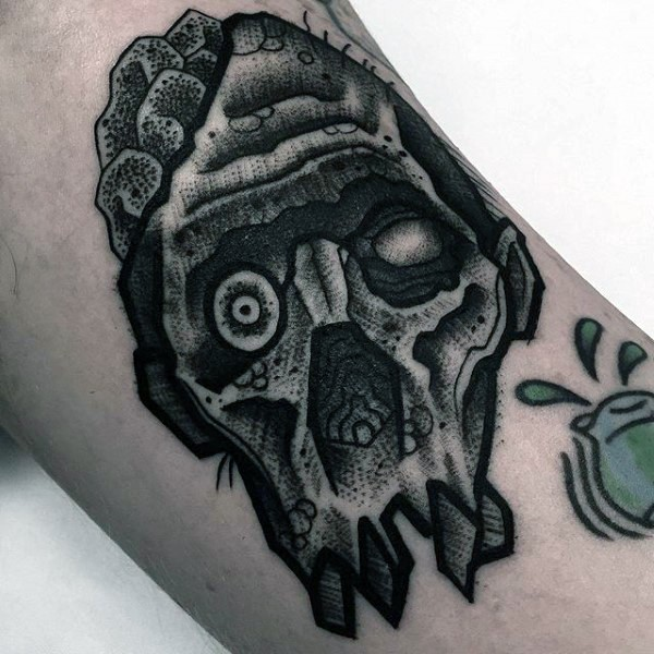 Engraving style black ink arm tattoo of zombie face