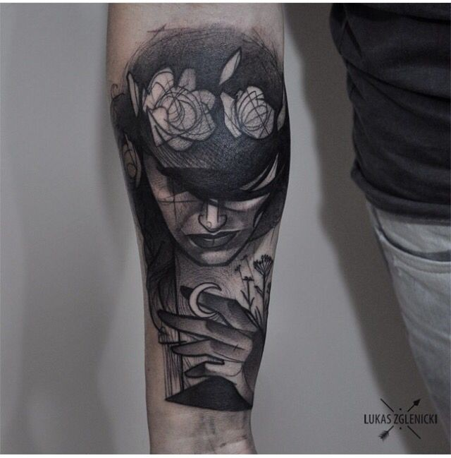 Engraving style black ink arm tattoo of mysterious face with flowers