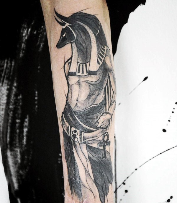 Engraving style black ink arm tattoo of Egypt God picture