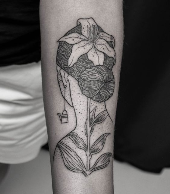 Engraving style black ink arm tattoo of woman with flowers