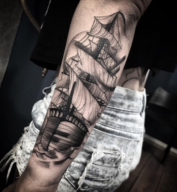 Engraving style black ink arm tattoo of large sailing ship