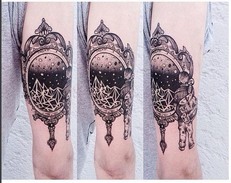 Engraving style black ink arm tattoo of beautiful mirror and human