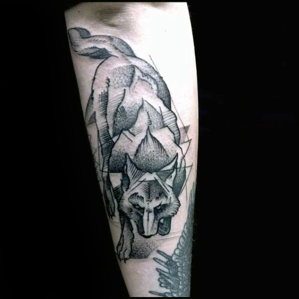 Engraving style black ink arm tattoo of wolf