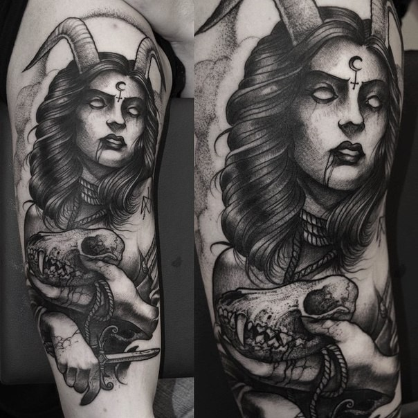Tattoo Woman Demonic: Engraving Style Black Ink Arm Tattoo Of Mystical Devil