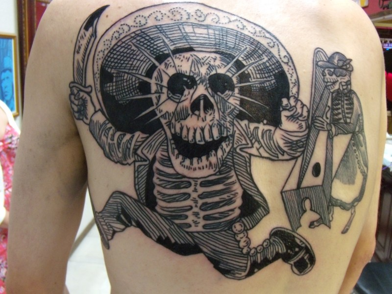 Engraving style black ink back tattoo of Mexican skeleton with sword