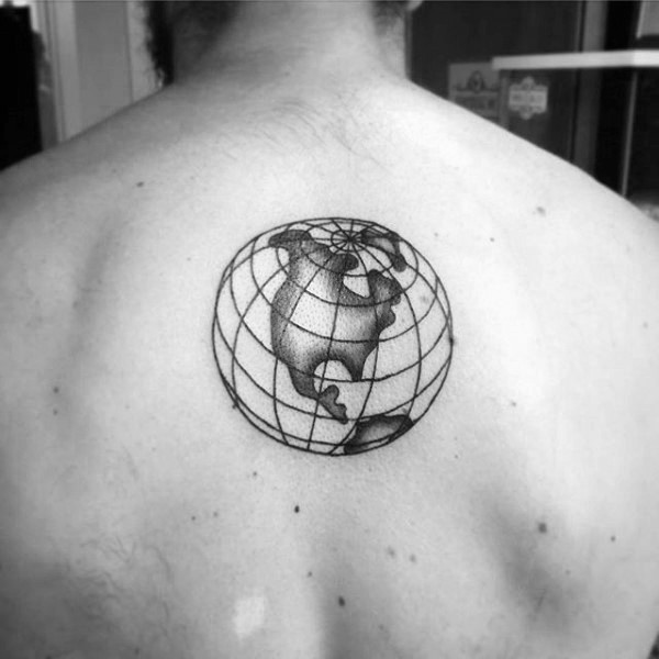 Engraving style black ink back tattoo of small globe