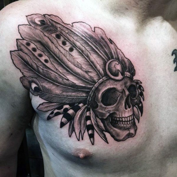 Engraving style black ink chest tattoo of old Indian skull