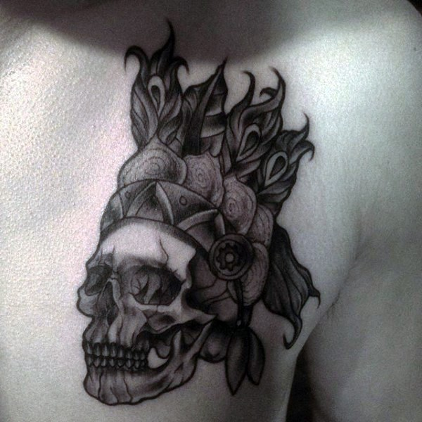 Engraving style black ink chest tattoo of Indian skull with cool helmet