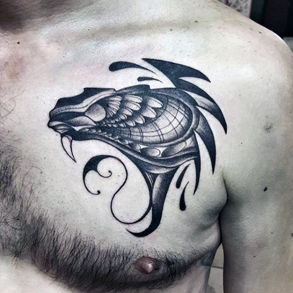 Engraving style black ink chest tattoo of demonic monster