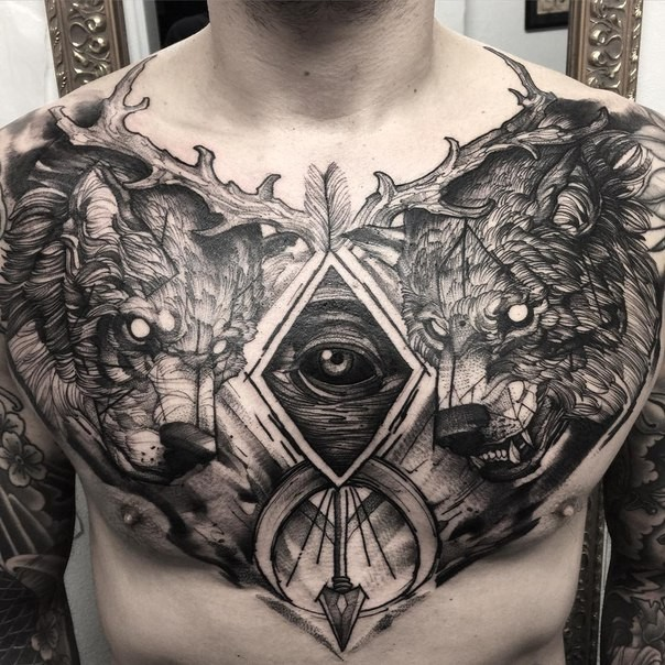 Engraving style black ink chest tattoo of dark bears with arrow and eye