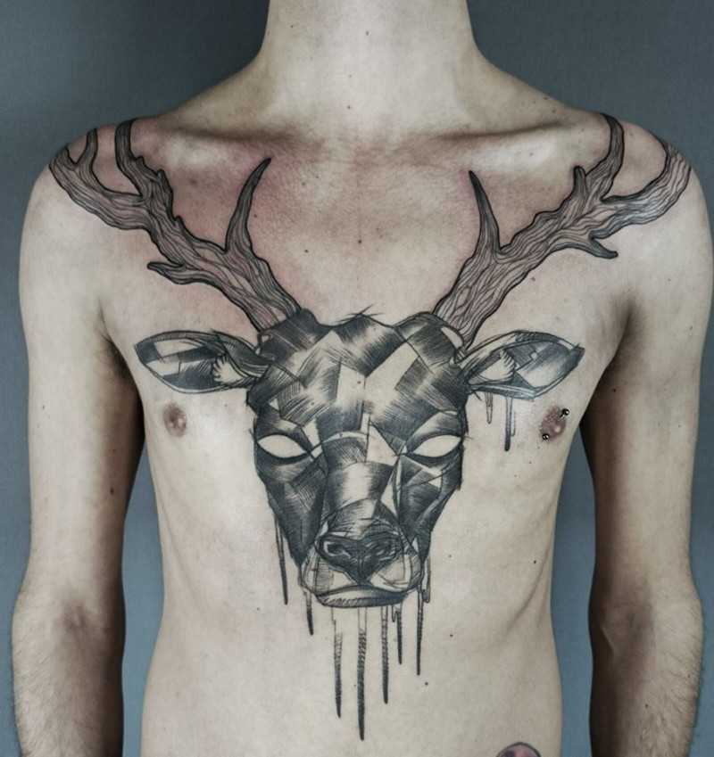 Engraving style black ink chest tattoo of deer skull