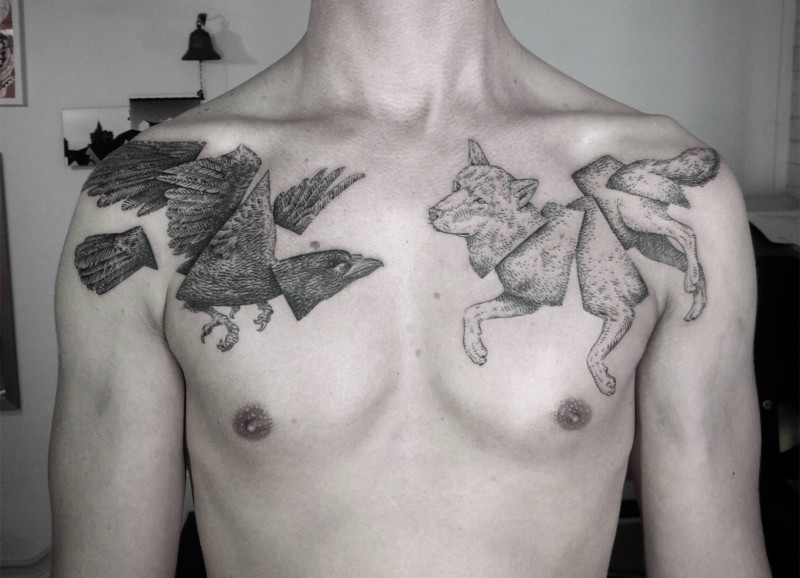 Engraving style black ink chest tattoo of original looking wolf with crow