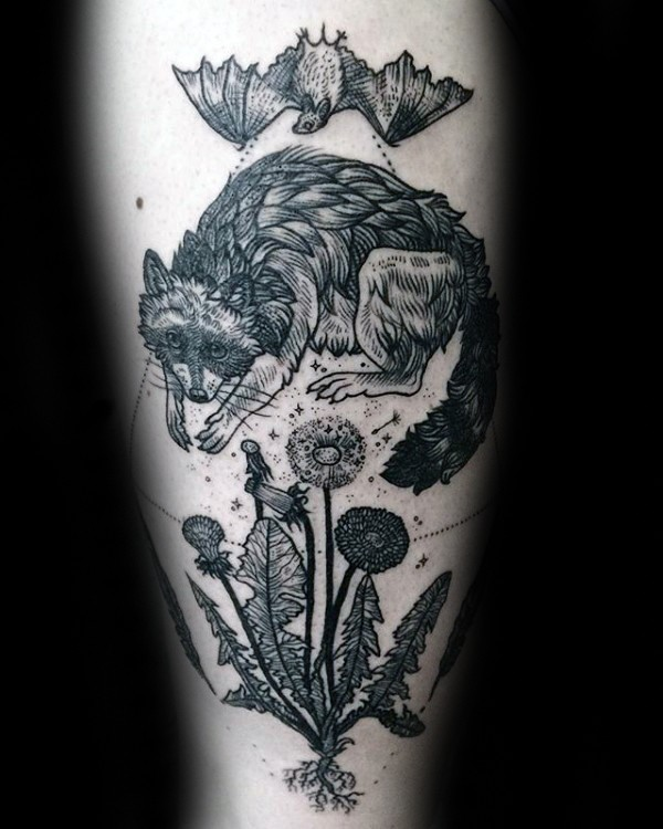 Engraving style black ink flowers with fox and bat tattoo