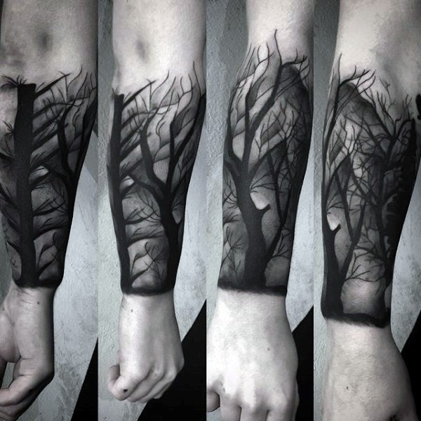 Engraving style black ink forearm tattoo of dark forest