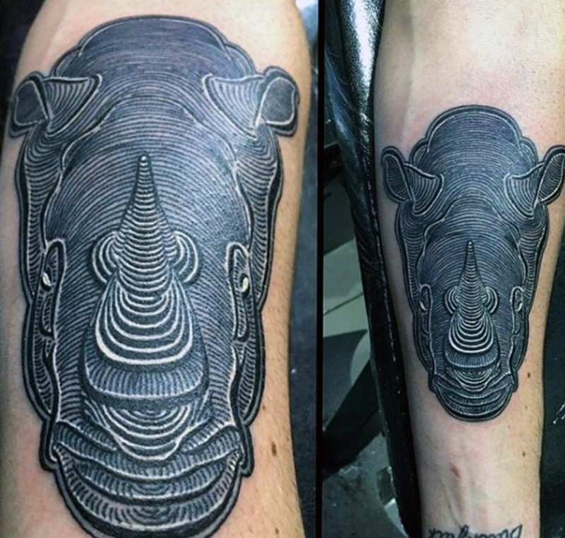 Engraving style black ink forearm tattoo of 3D rhino