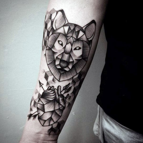 Engraving style black ink forearm tattoo of wolf head with stone human heart