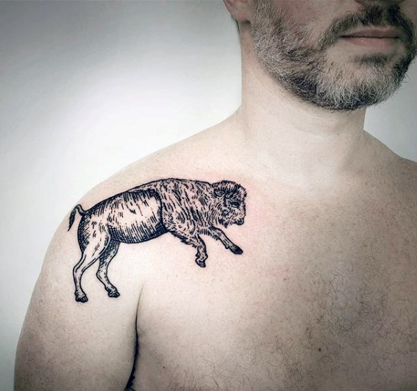 Engraving style black ink grunting ox tattoo on shoulder