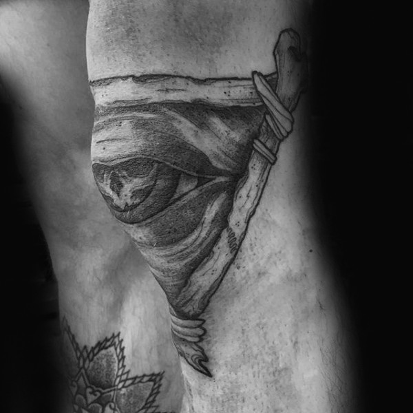 Engraving style black ink knee tattoo of mystic eye and triangle