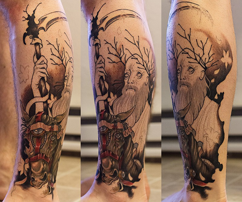 Engraving style black ink leg tattoo of fantasy man with horse
