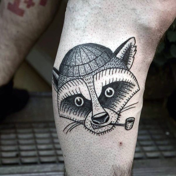 Engraving style black ink leg tattoo of smoking raccoon