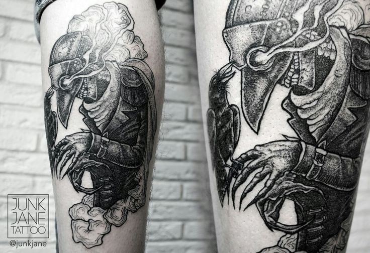 Engraving style black ink leg tattoo of evil plague doctor with crow