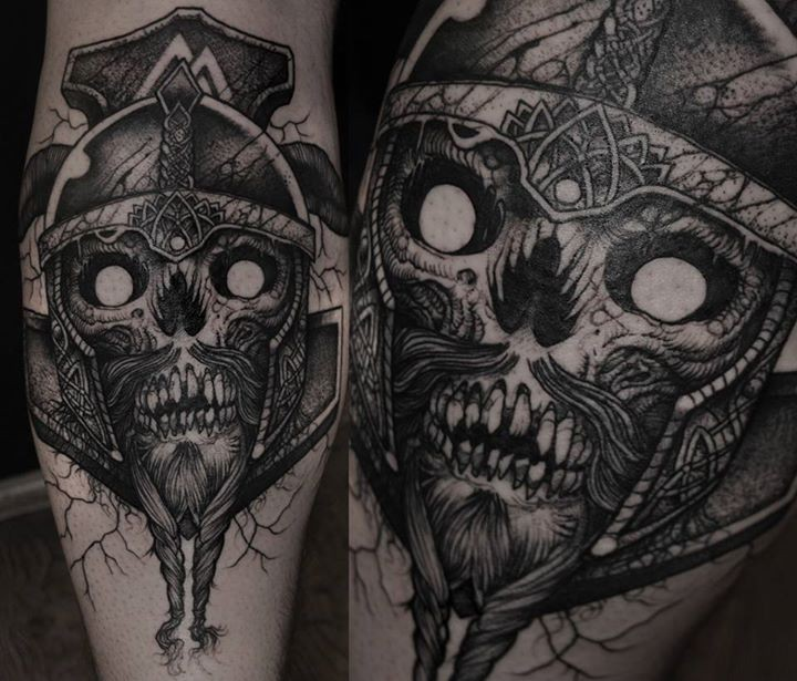 Engraving style black ink leg tattoo of demonic skull with helmet