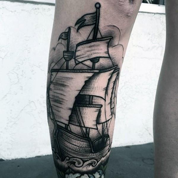 Engraving style black ink leg tattoo of sailing ship