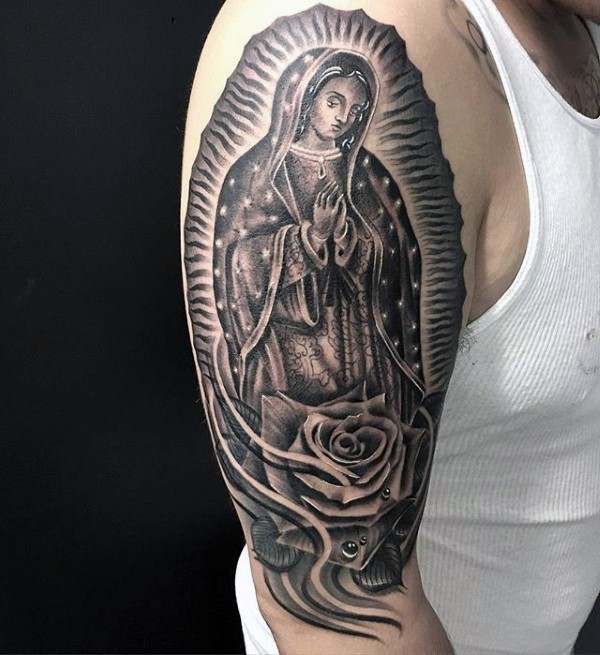 Engraving style black ink shoulder tattoo of big statue with rose