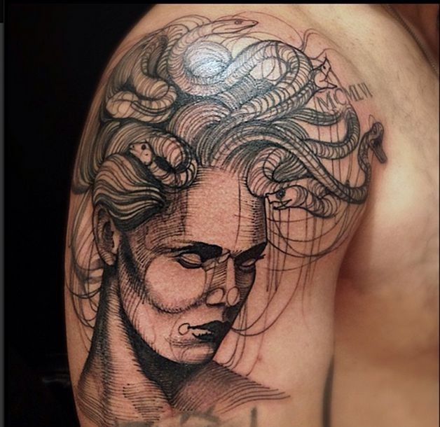 Engraving style black ink shoulder tattoo of Medusa head with snakes