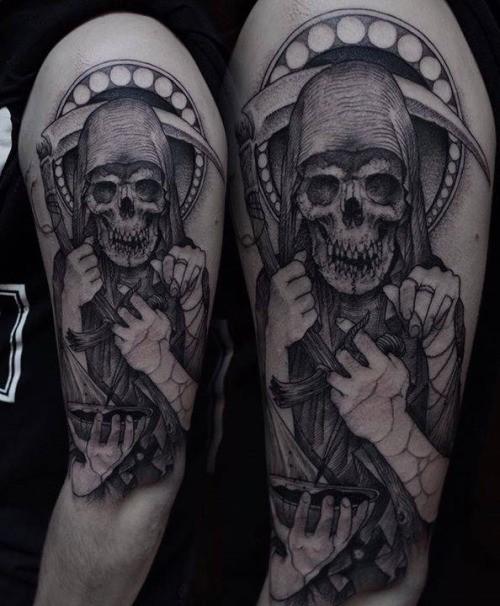 Engraving style black ink shoulder tattoo of Grimm reaper