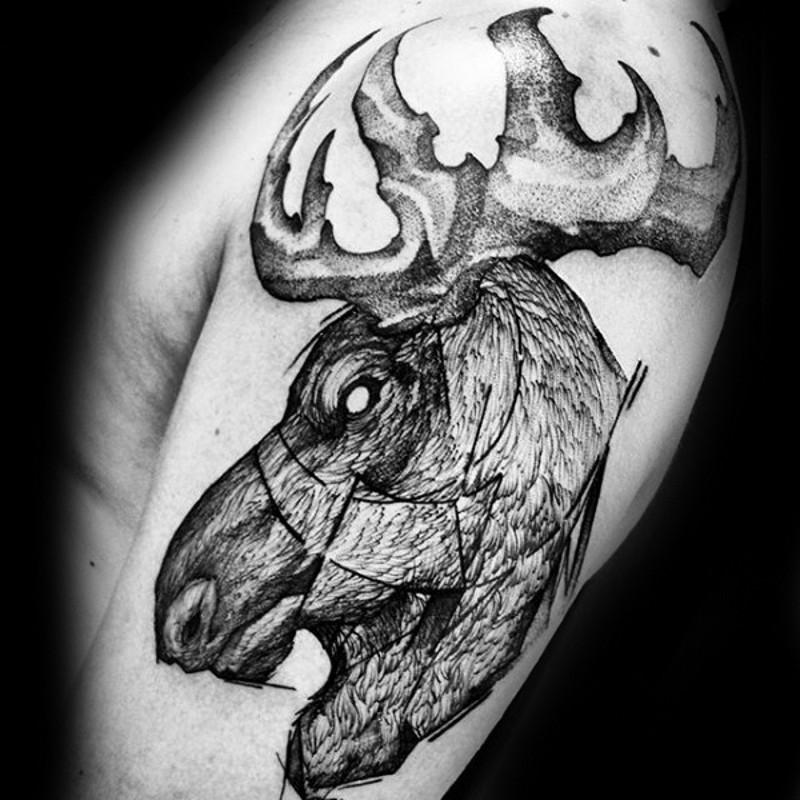 Engraving style black ink shoulder tattoo of big elk head