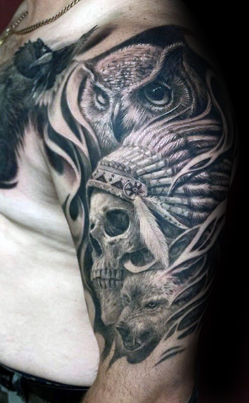 Engraving style black ink shoulder tattoo of owl with Indian skull and helmet