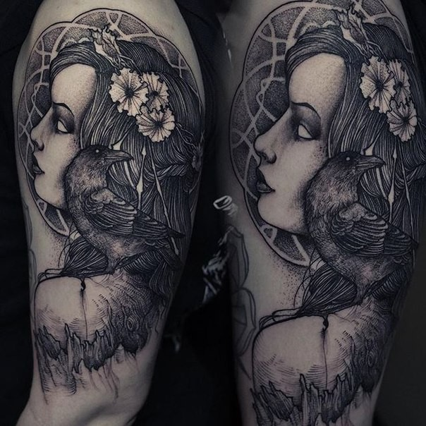Engraving style black ink shoulder tattoo of woman head with crow and flower