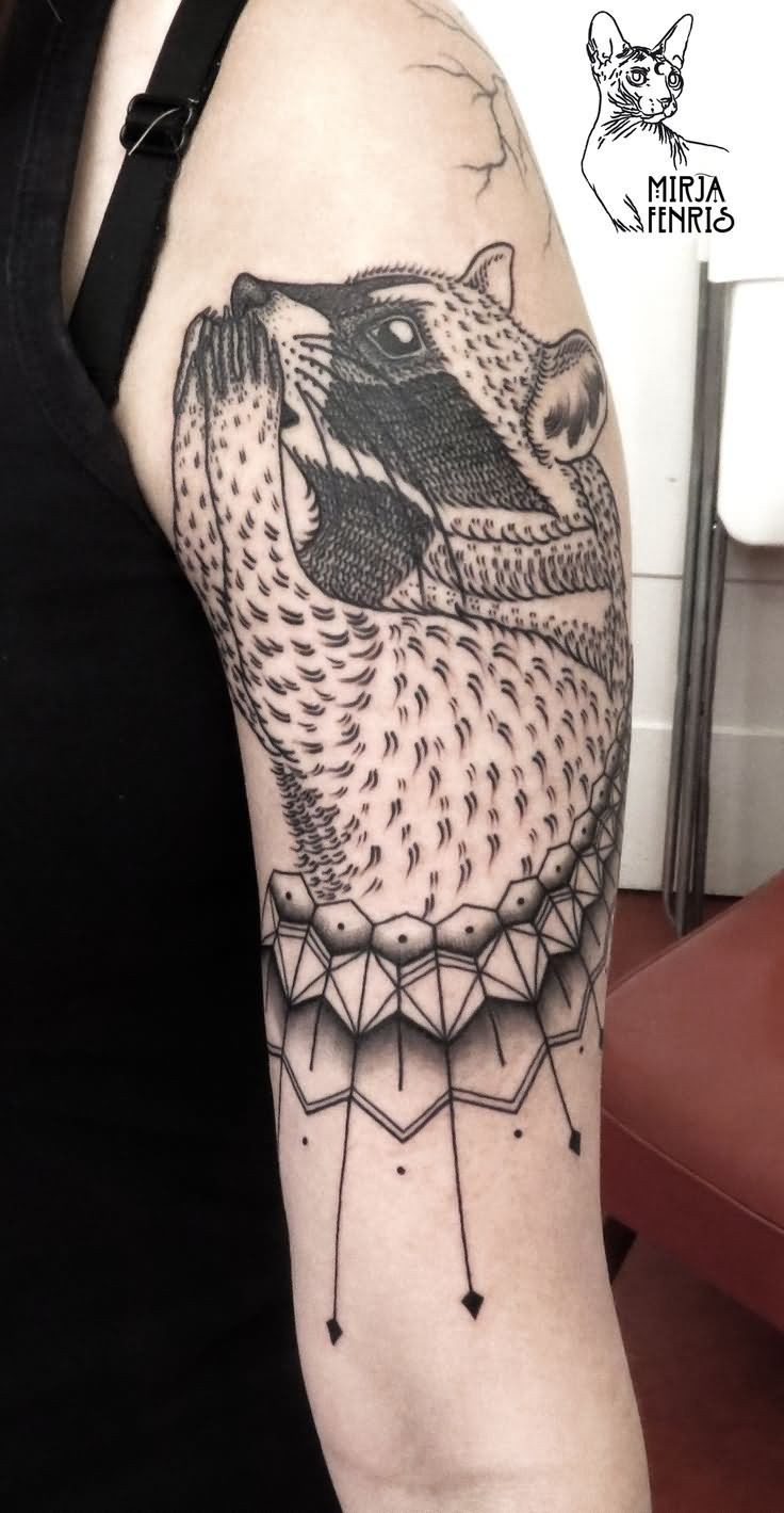 Engraving style black ink shoulder tattoo of little raccoon