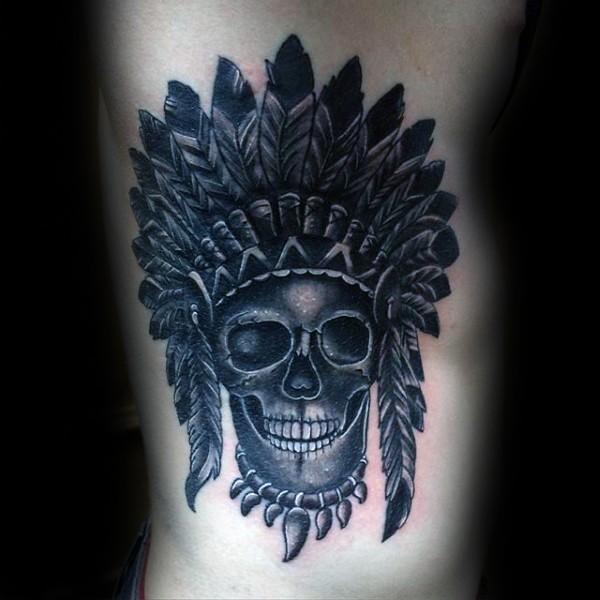 Engraving style black ink side tattoo of tribal skull with helmet