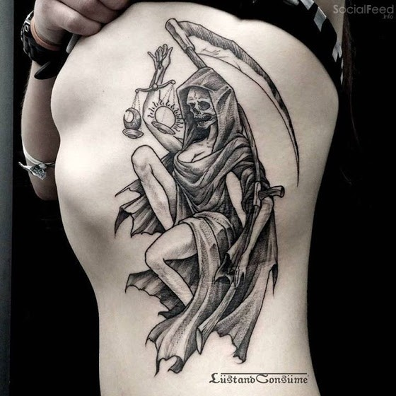 Engraving style black ink side tattoo of sexy woman Grimm reaper