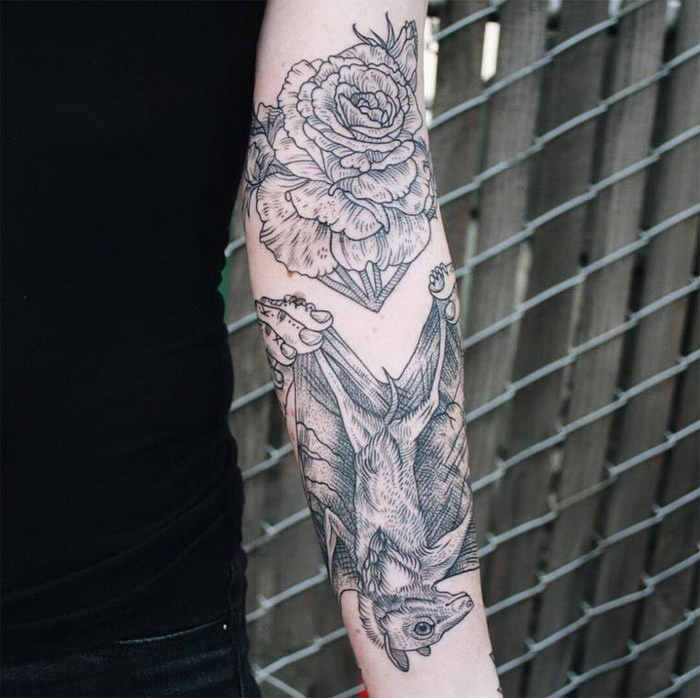 Engraving style black ink sleeve tattoo of bat and flower for Bat sleeve tattoo