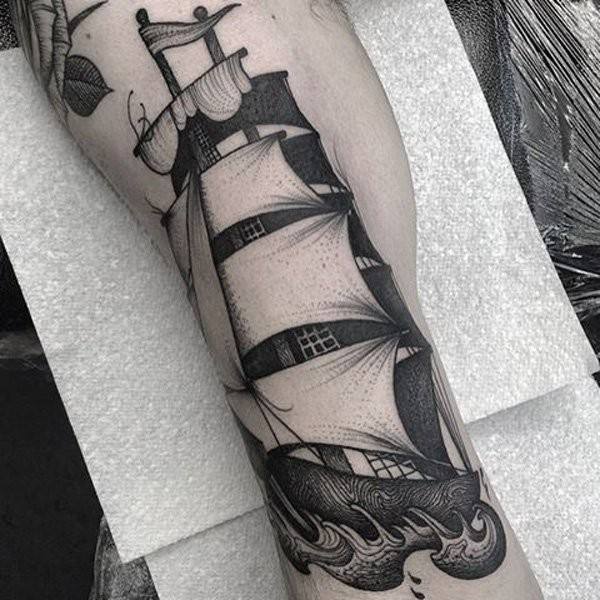 Engraving style black ink tattoo of big sailing ship