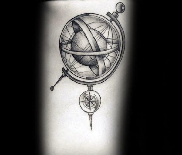 Engraving style black ink tattoo of science globe with planet