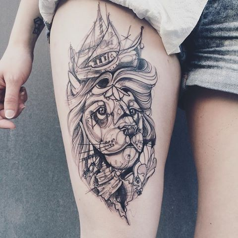 Engraving style black ink thigh tattoo of cool lion with ship