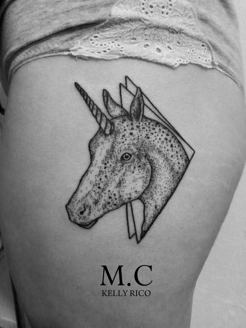 Engraving style black ink thigh tattoo of